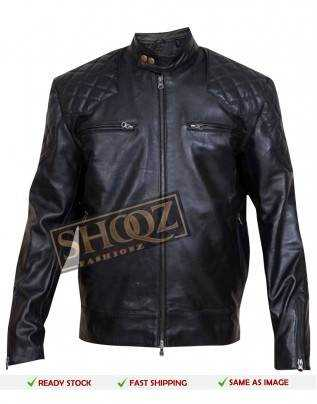David Beckham Brazil Motorcycle Quilted Black Leather Jacket
