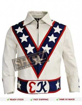 Evel Knievel Vintage Biker White Leather Costume Jacket