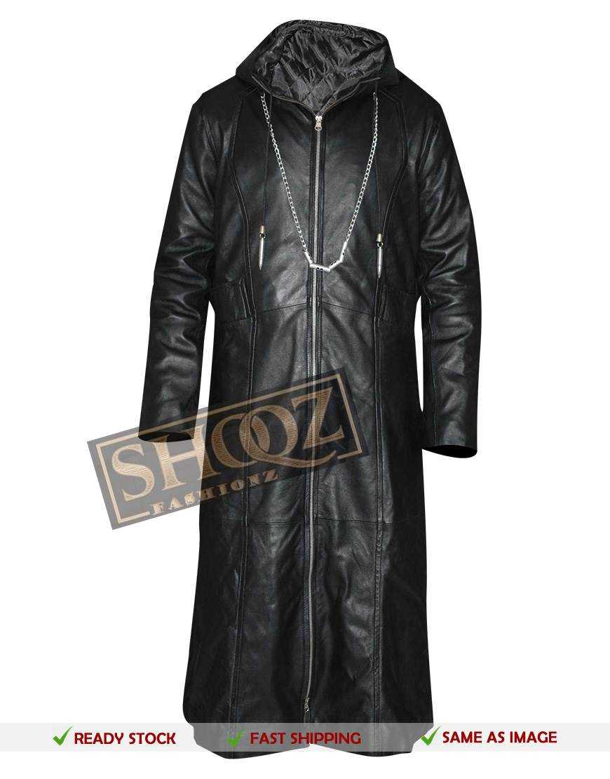 Kingdom Hearts Organization 13 Enigma Leather Hoodie Costume Coat