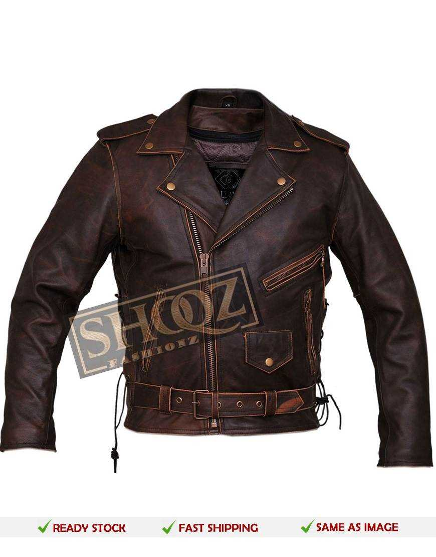 Marlon Brando Brown Distressed Leather Jacket