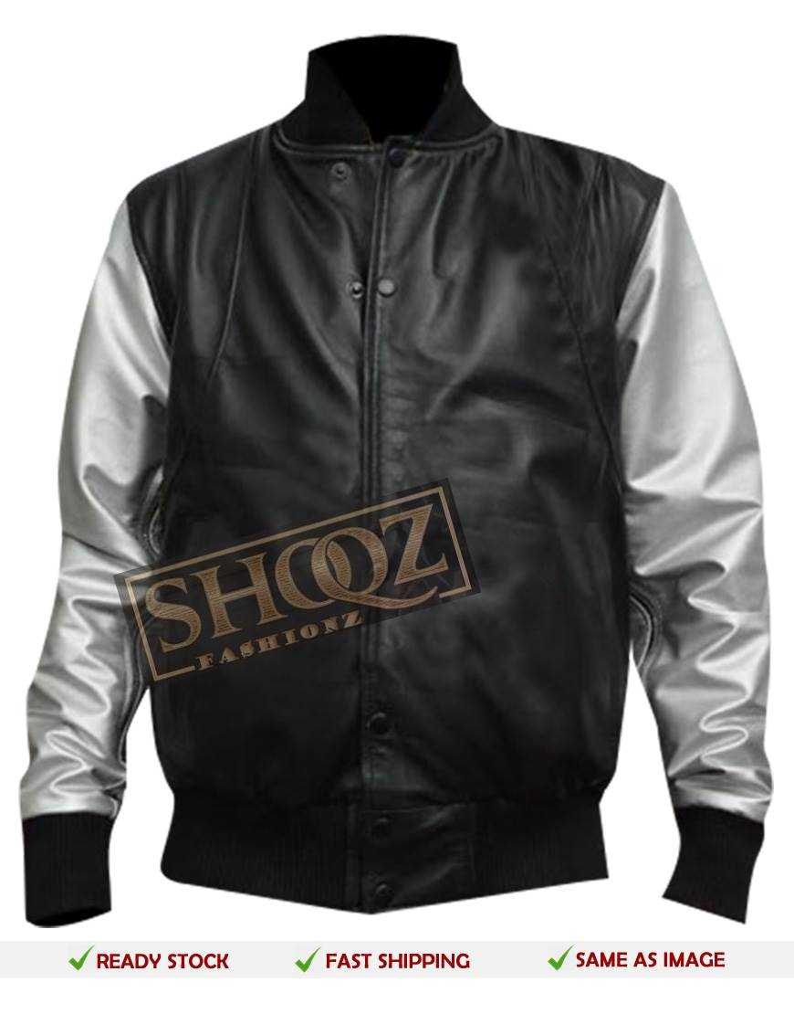 Silver Sleeves Bomber Black Leather Jacket