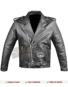 Men Brando Police Style Biker Jacket