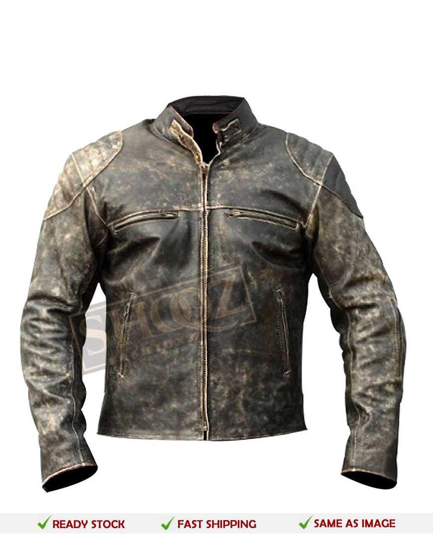 Antique Vintage Distressed Retro Leather Jacket