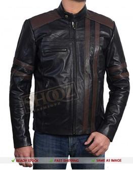 Slim Fit Black With Brown Stripes Jacket
