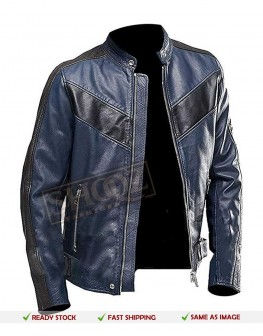 Cafe Racer Blue Leather Jacket