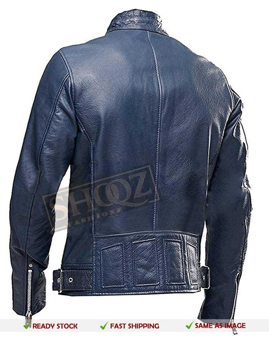 Cafe Racer Blue Leather Jacket