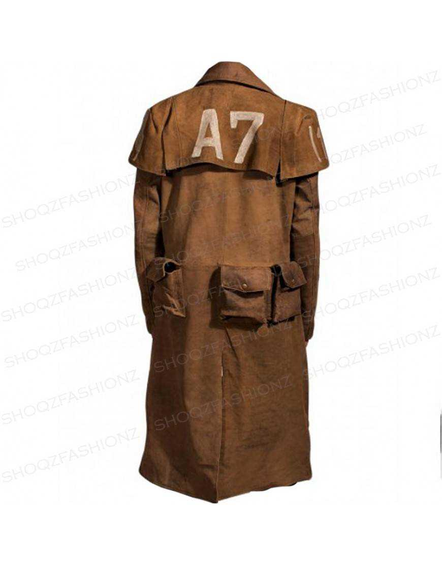 Fallout Vegas Veteran Ranger Trench Real Leather Coat