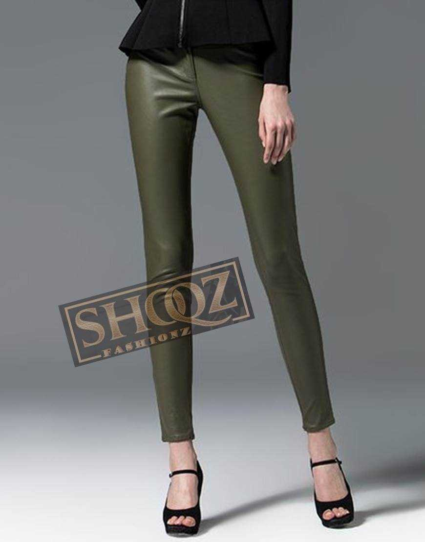 Alexander Mcqueen Dark Green Leather Pant