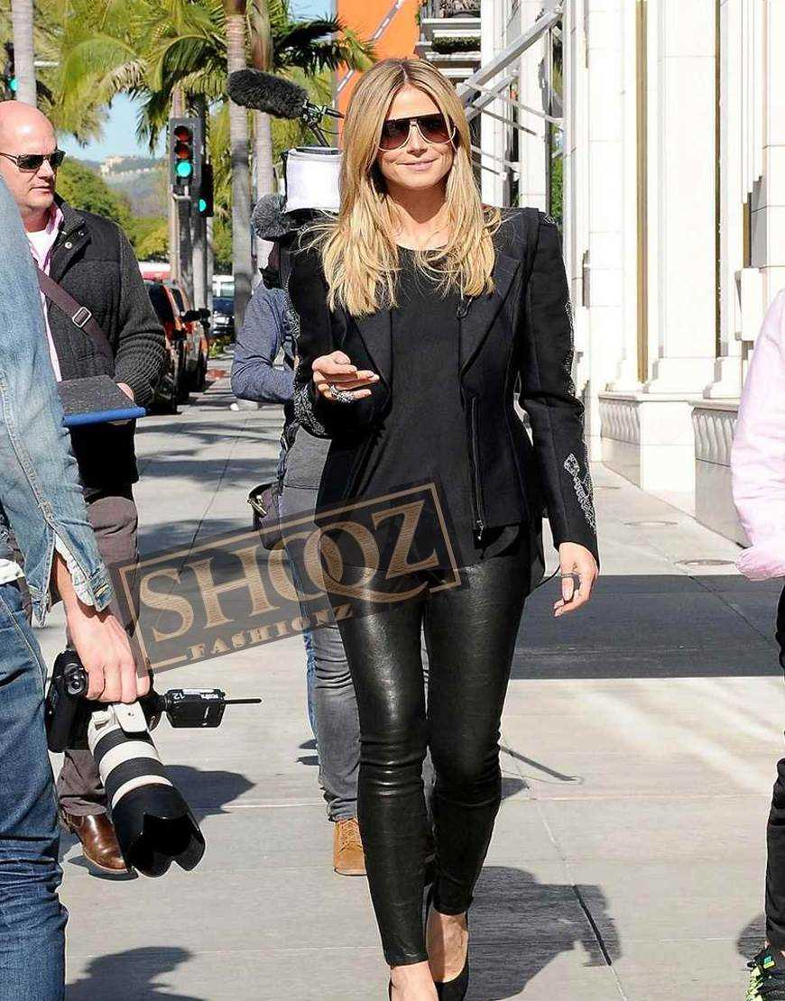 Women Heidi Klum Slimfit Black Leather Pant