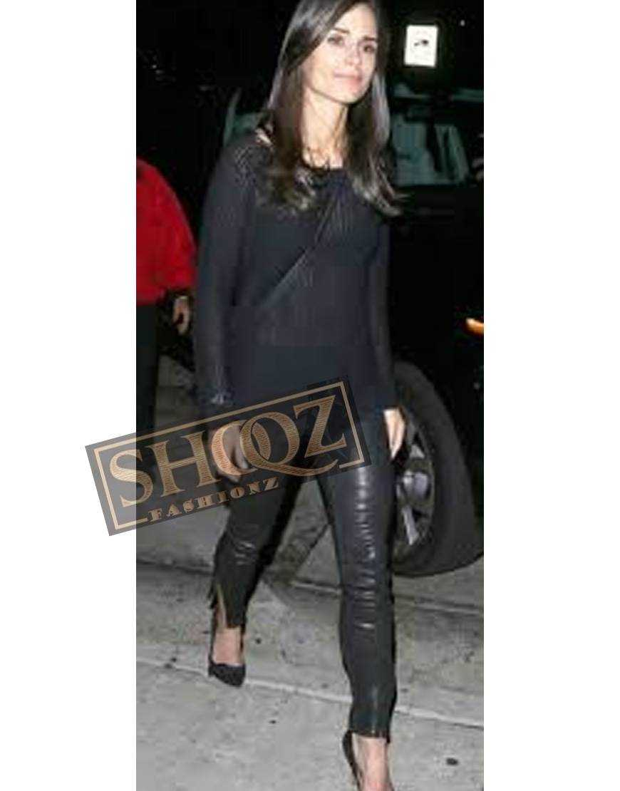 Jordana Brewster Ankle Zip Black Leather Pant