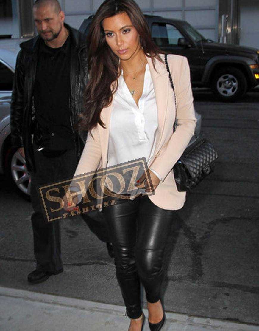 Kim Kardashian Slim Fit Black Leather Pant