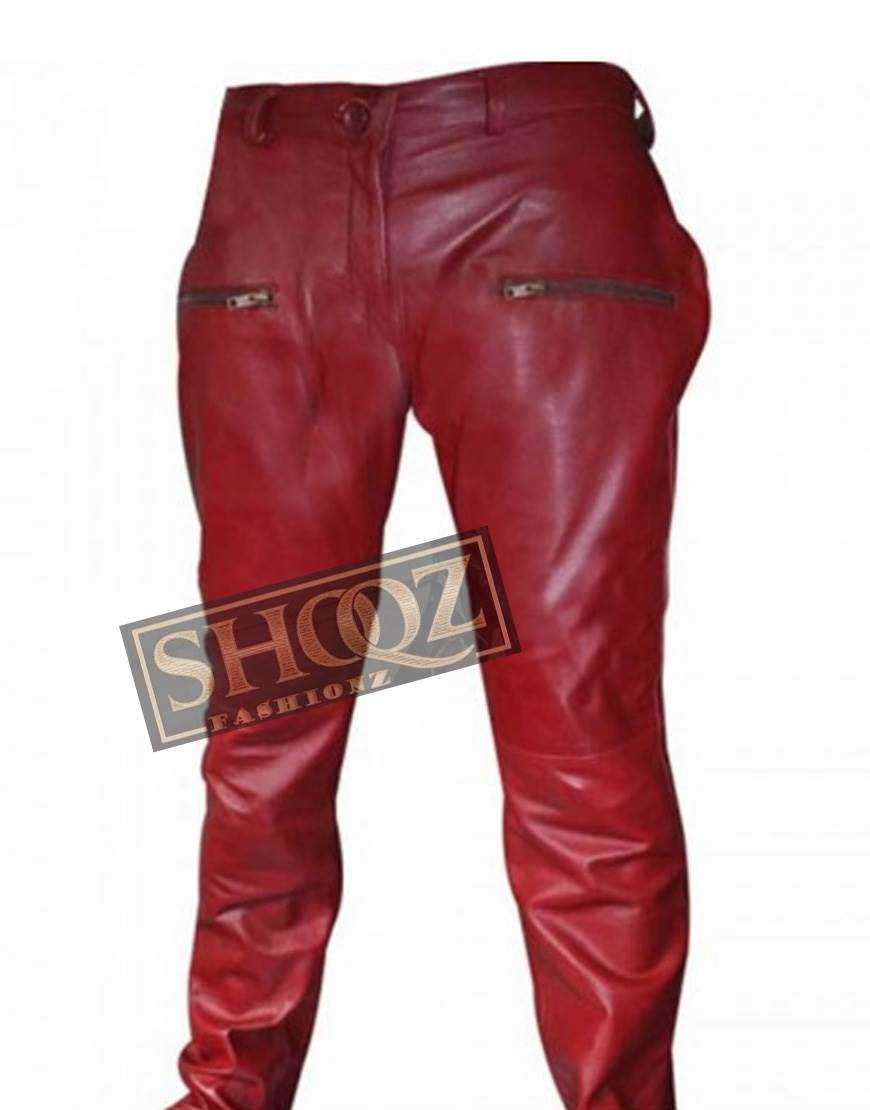 Kylie Jenner Red Leather Pant