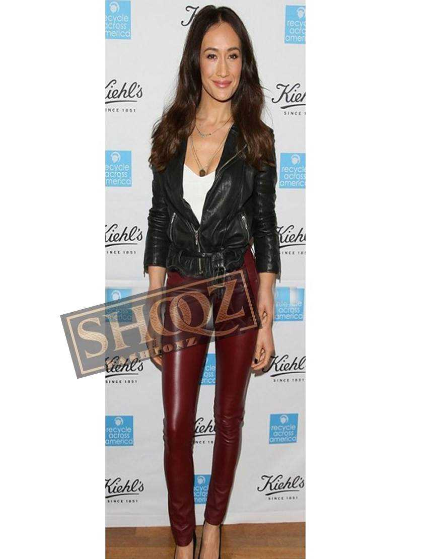 Women Maggie Q Maroon Slimfit Leather Pant