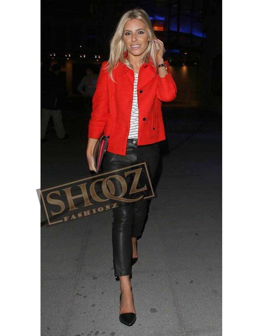 Singer Mollie King Black Leather Pant