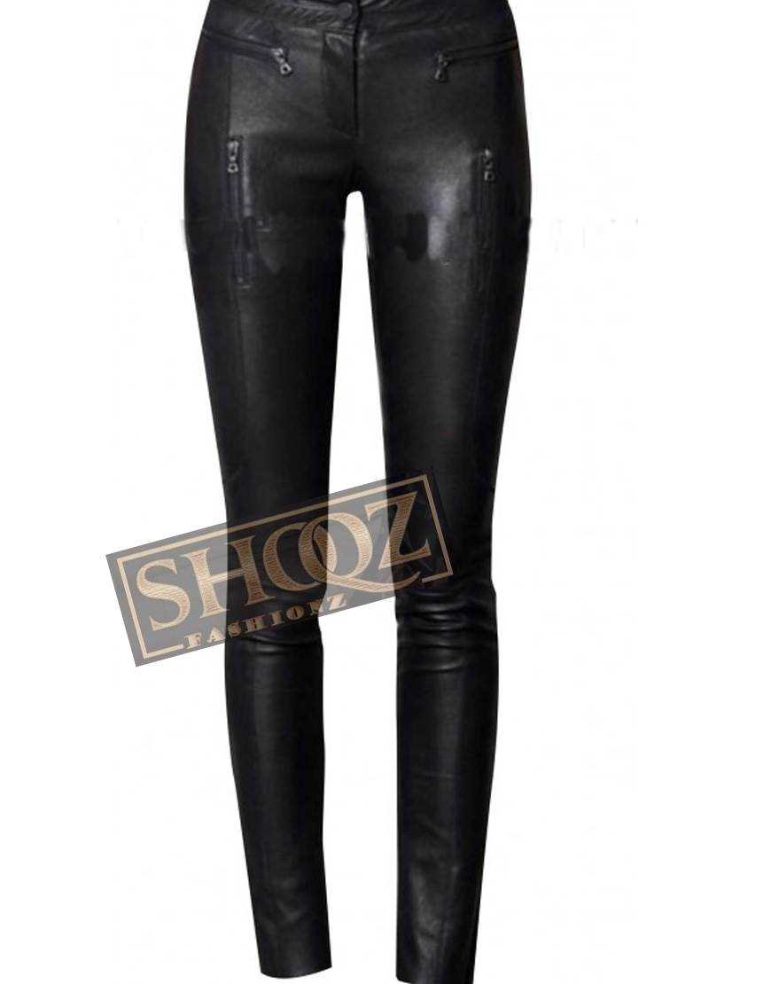 Women's Slim Fit Black Leather Pant