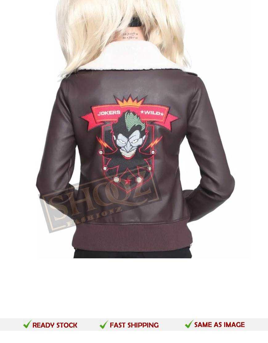 Harley Quinn Bomber Fur Leather Jacket