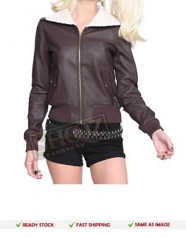 Harley Quinn Bomber Fur Leather Jacket