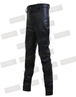 Women Hilary Duff Black Leather Pant