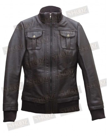 Womens Double Collar Casual Wear Brown Bomber Leather Jacket