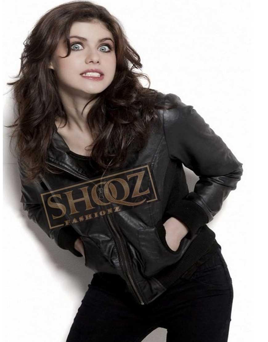 Alexandra Daddario Black Biker Leather Jacket