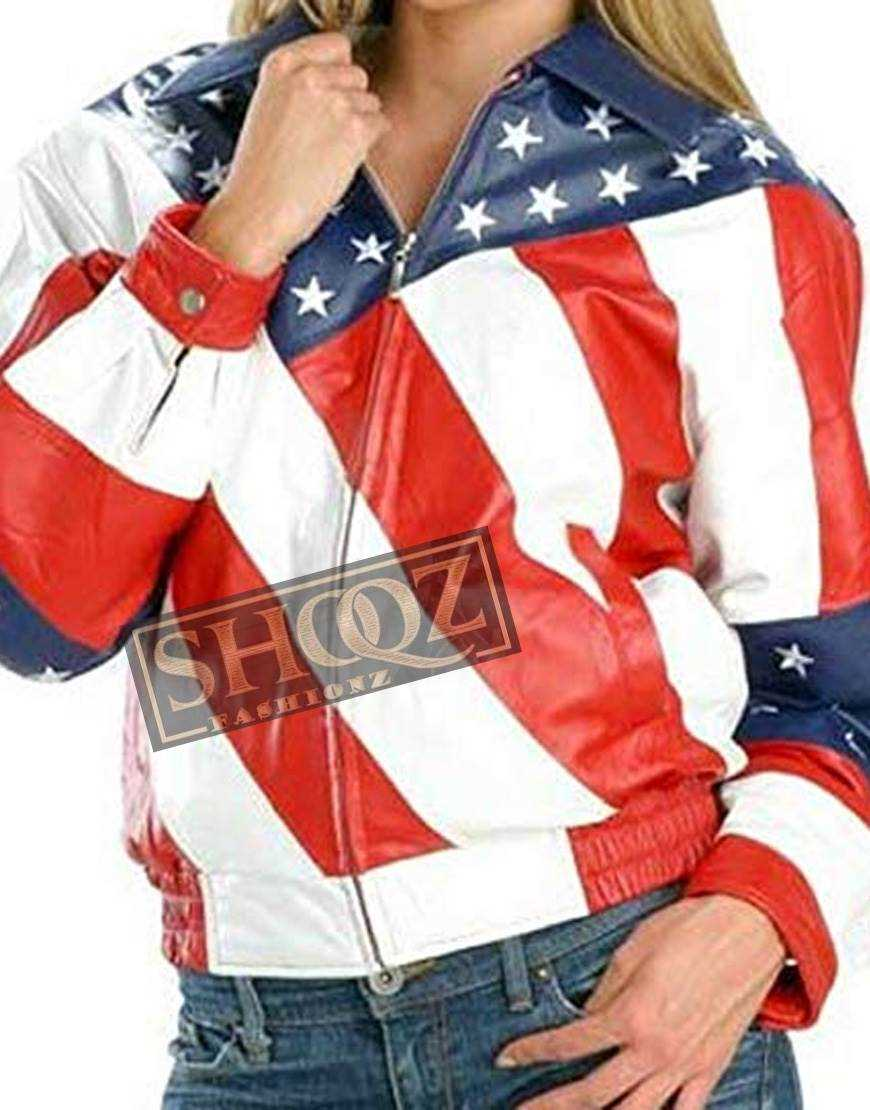 Ladies American Flag Leather Jacket