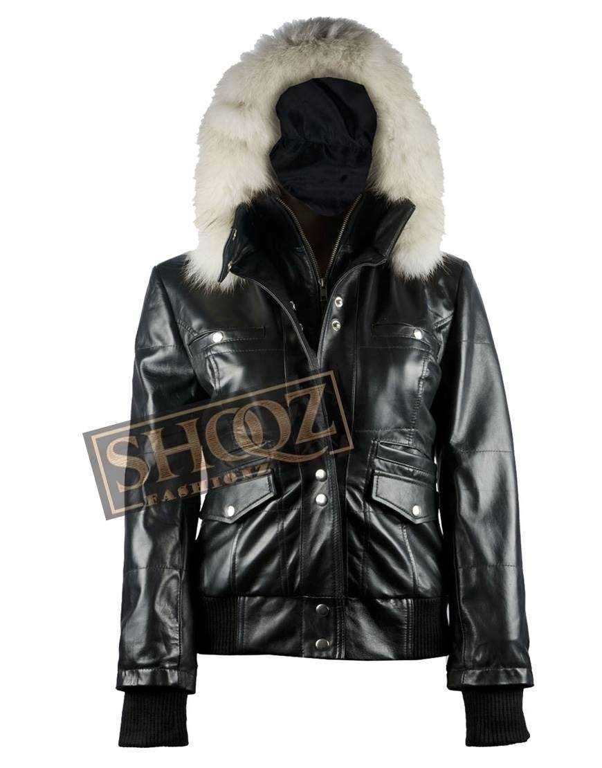 Women Bomber Fur Black Leather Hooded Jacket