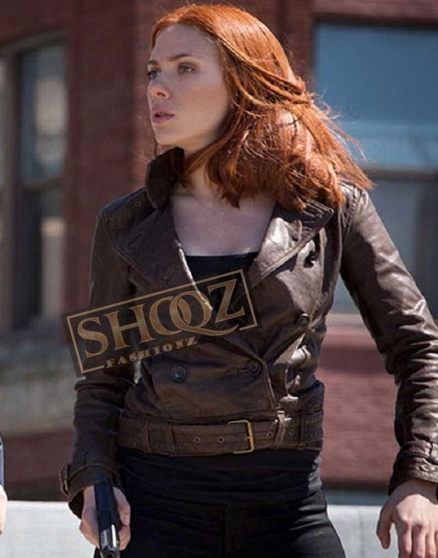 Captain America 2 Scarlett Johansson Leather Jacket