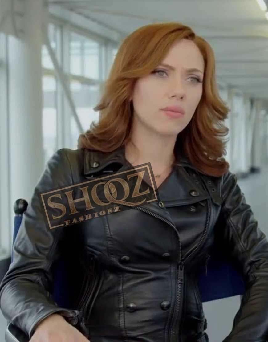 Captain America Civil War Scarlett Johansson Leather Jacket
