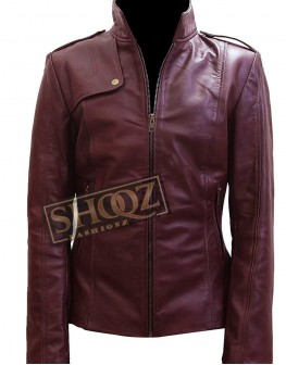 Chicago PD Sophia Bush Maroon Leather Jacket