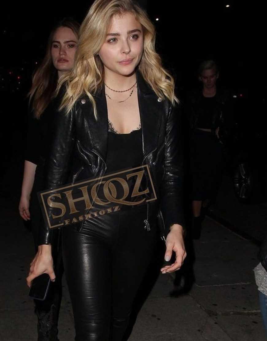 Chloë Grace Moretz Black Biker Leather Jacket
