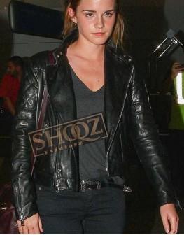 Emma Watson Brando Black Biker Leather Jacket