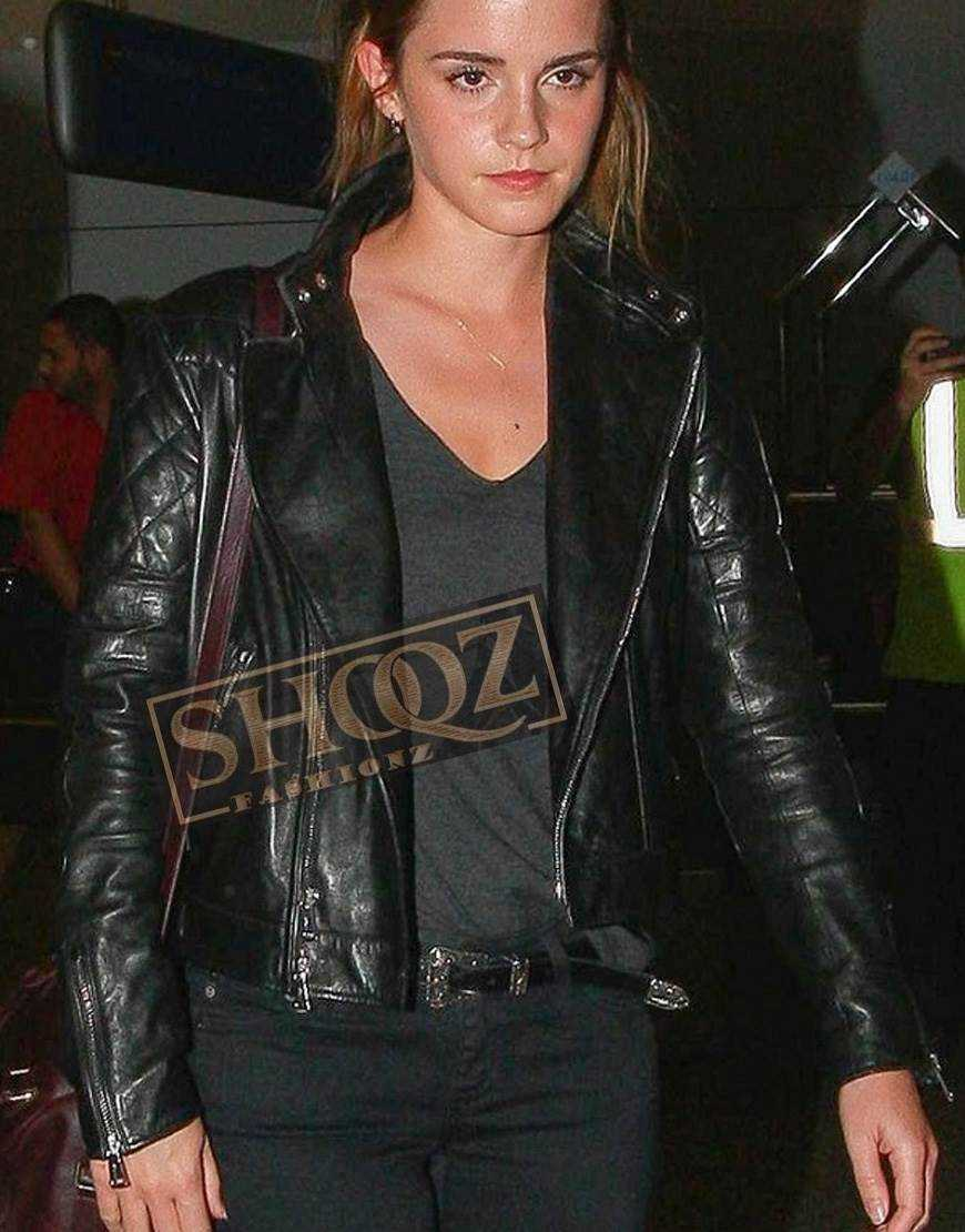 Emma Watson Brando Black Biker Leather Jacket