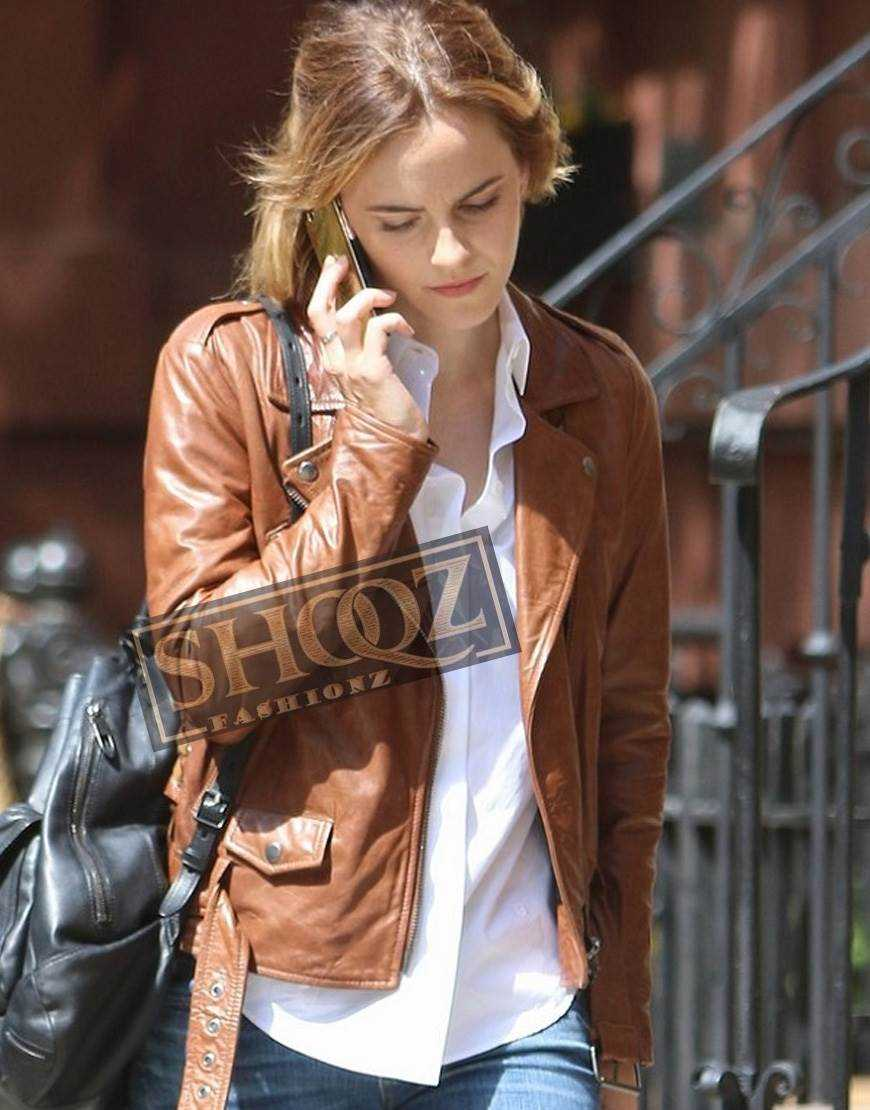 Emma Watson Brown Biker Leather Jacket