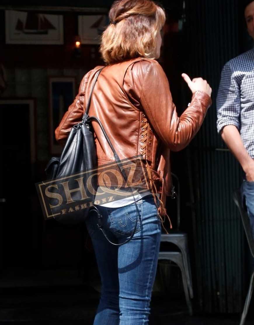 Emma Watson Brown Biker Leather Jacket