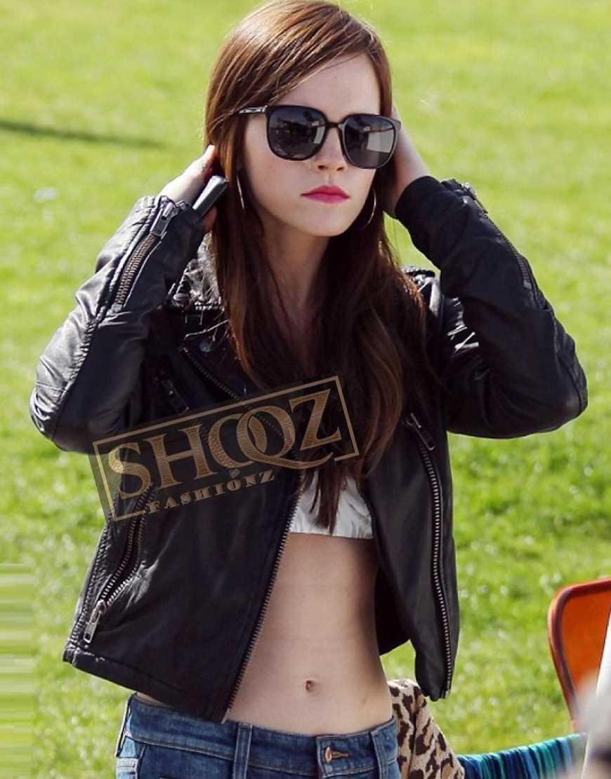 Emma Watson Brando Biker Leather Jacket