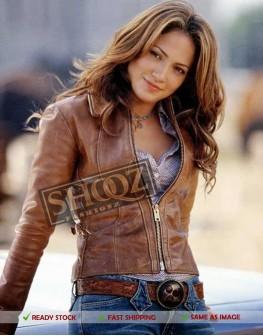 Jennifer Lopez Brown Distressed Leather Jacket