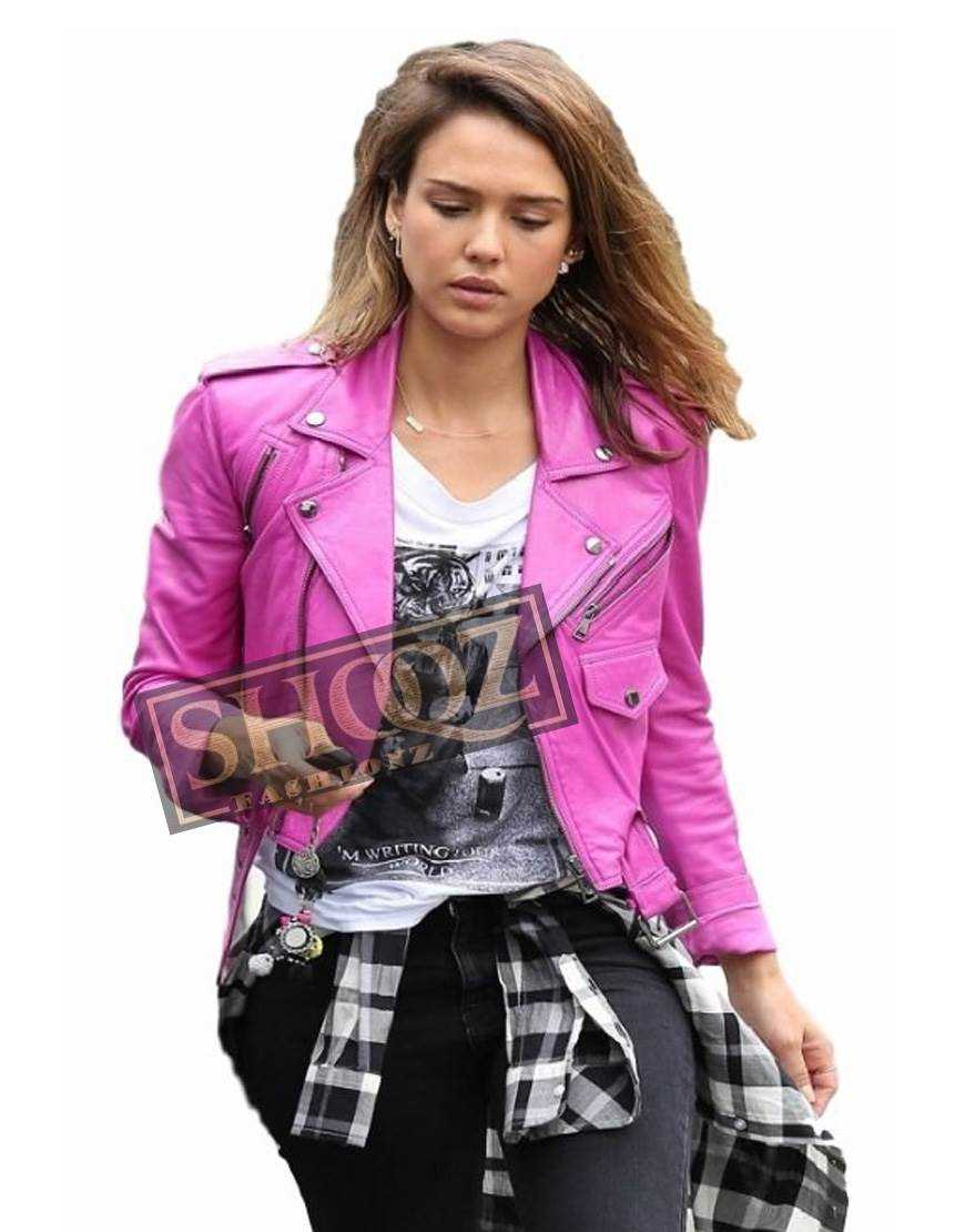 Jessica Alba Pink Biker Leather Jacket