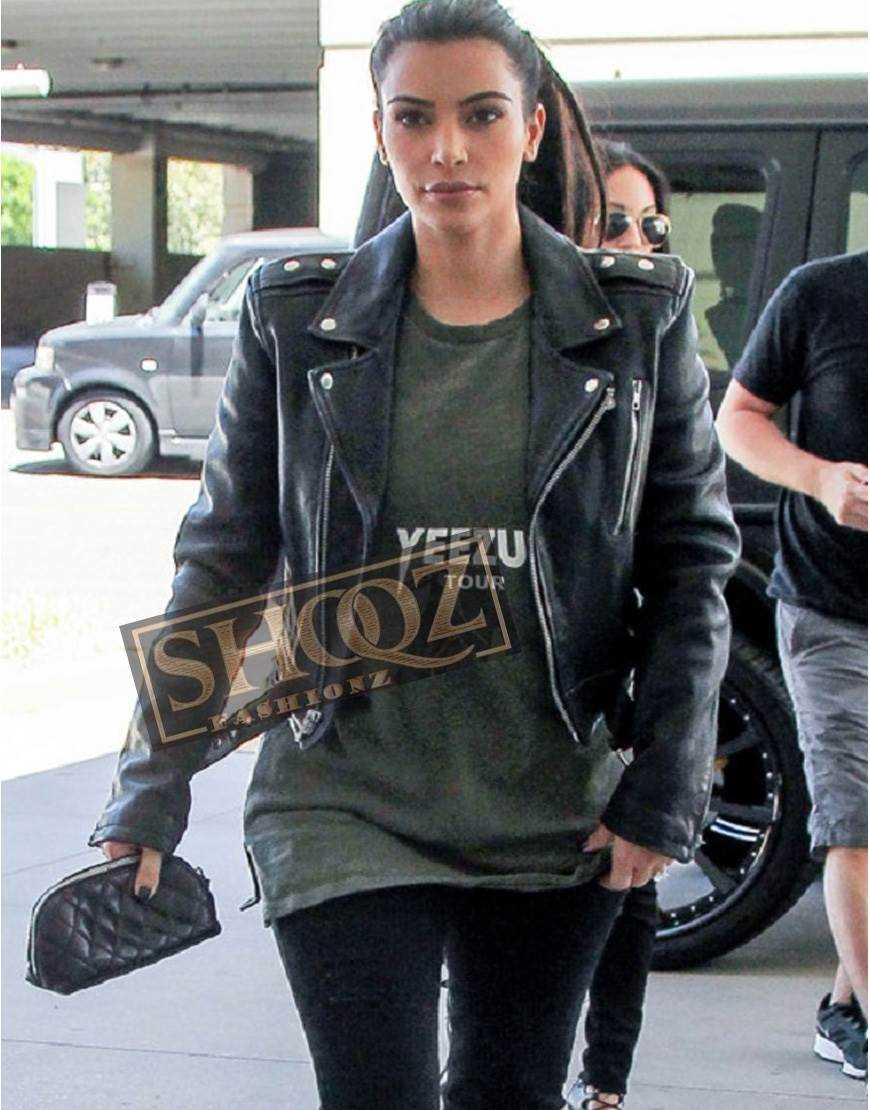 Kim Kardashian Biker Black Leather Jacket