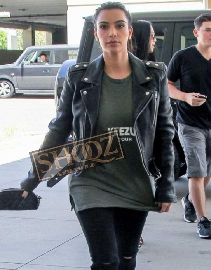 Kim Kardashian Biker Black Leather Jacket