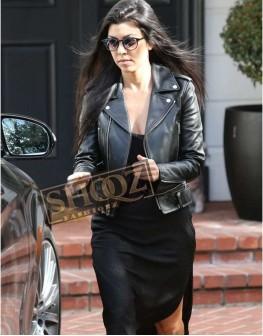 Kourtney Kardashian Black Leather Biker Jacket