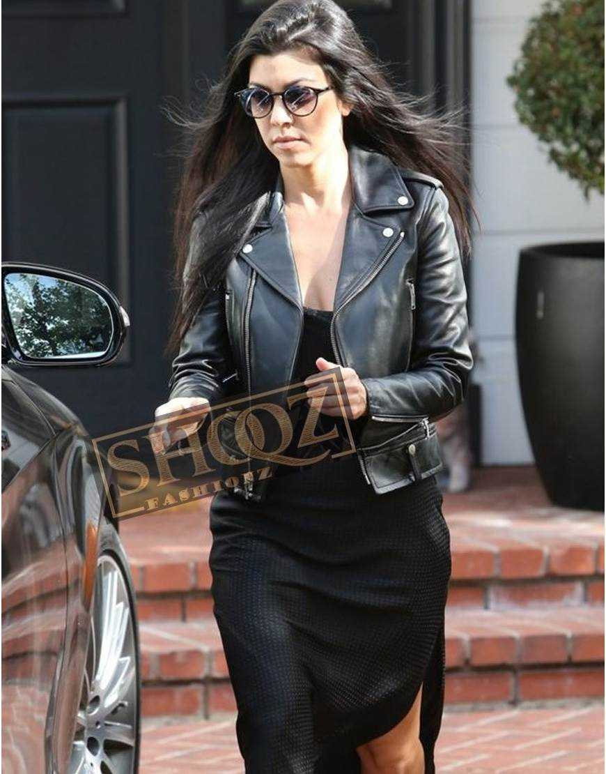 Kourtney Kardashian Black Leather Biker Jacket