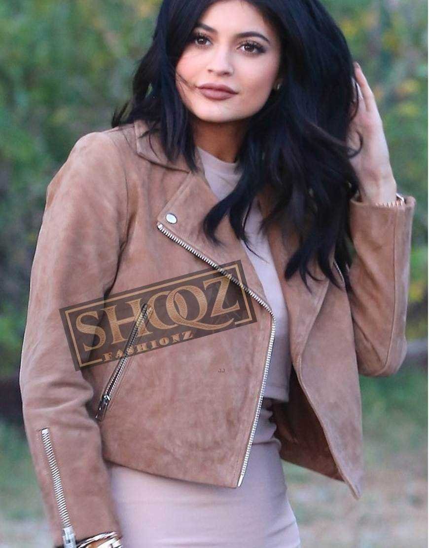 Kylie Jenner Biker Suede Leather Jacket