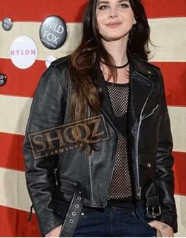 Lana Del Rey Biker Leather Black Jacket