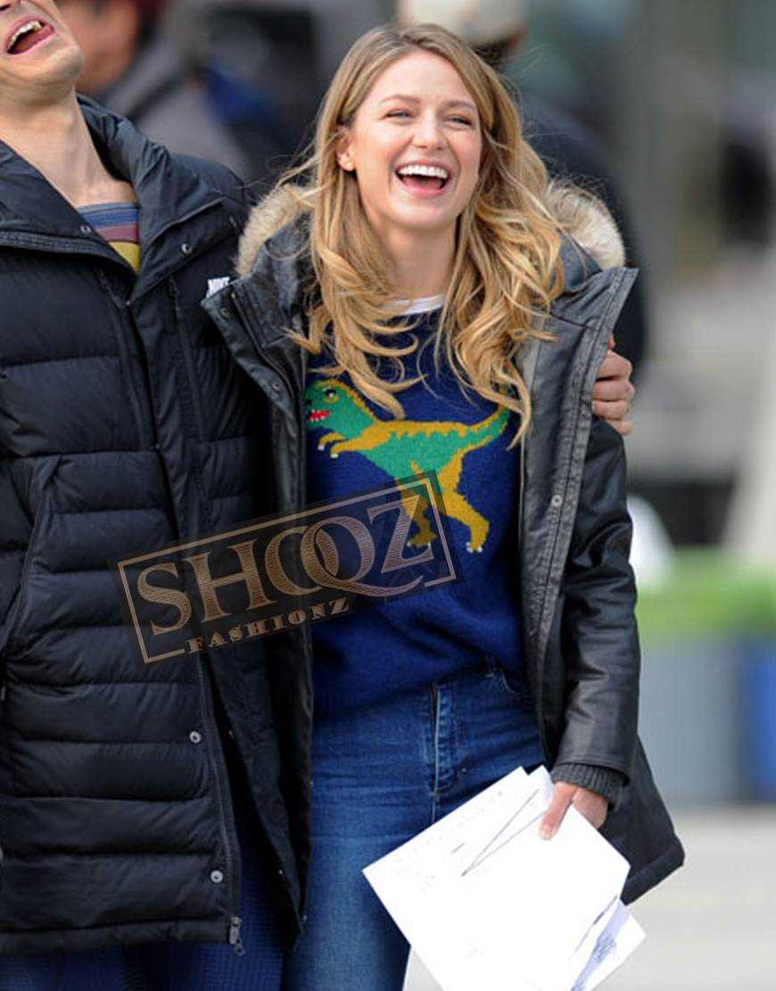 Melissa Benoist On Set Of Supergirl Hood Jacket