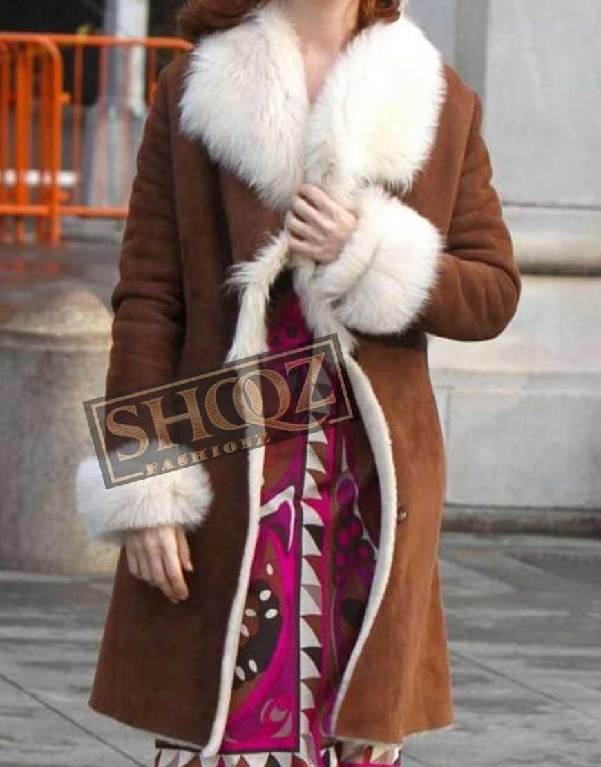 Modern Love Anne Hathaway Suede Coat