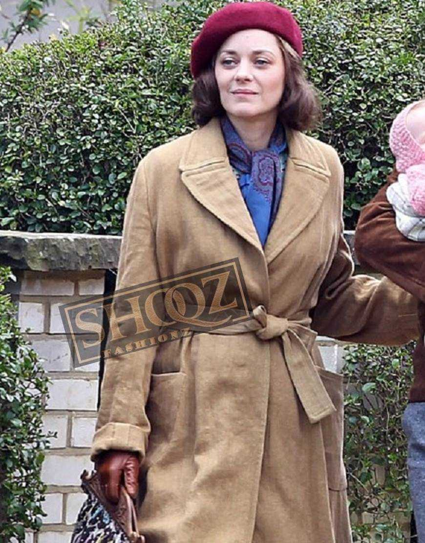 Allied Marion Cotillard Suede Coat
