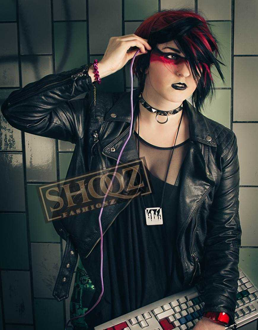 Shadowrun Decker Cosplay Black Leather Jacket