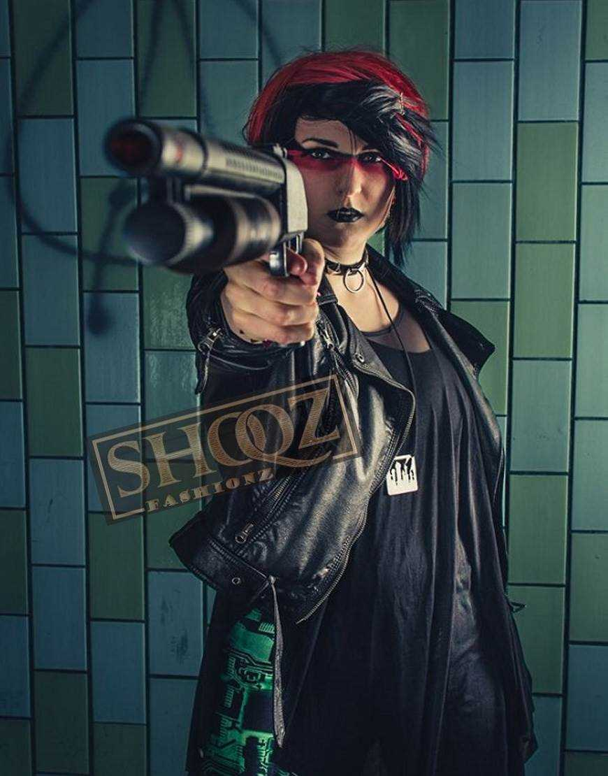 Shadowrun Decker Cosplay Black Leather Jacket