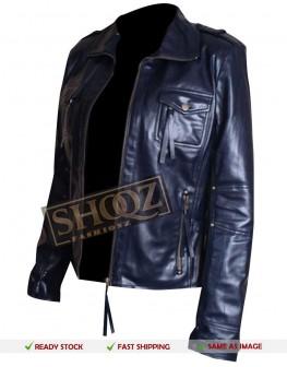 Slim Fit Navy Blue Women Leather Jacket