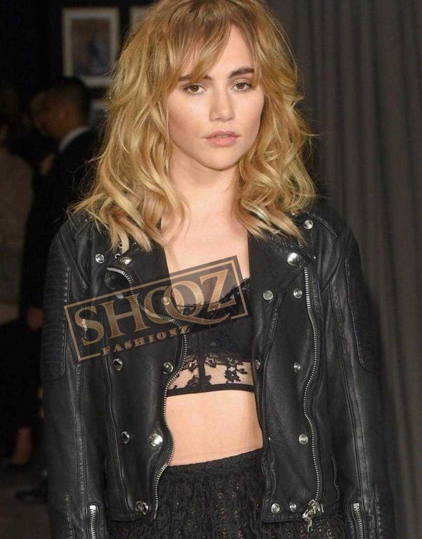 Suki Waterhouse Biker Black Leather Jacket
